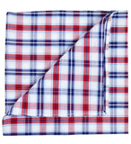 Blue and Red Plaid Cotton Pocket Square