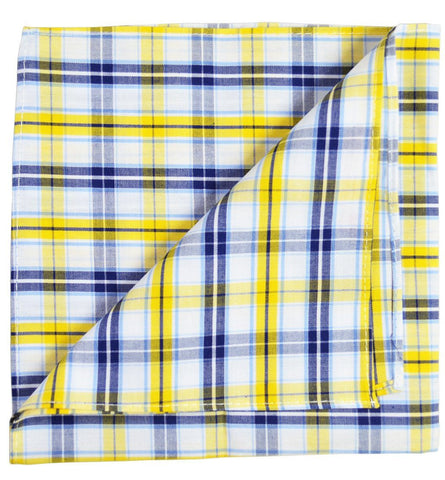 Blue Plaid Linen Tie and Pocket Square by Paul Malone