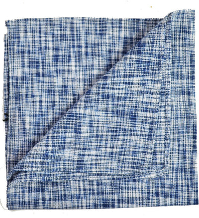 Blue Cotton/Linen Blend Pocket Square Paul Malone  - Paul Malone.com
