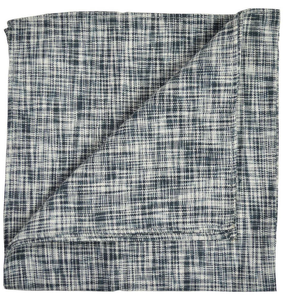 Black Cotton/Linen Blend Pocket Square Paul Malone