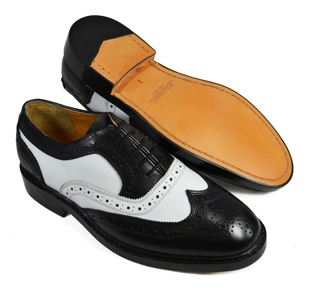PETER Black and White Leather Spectators by Paul Malone Shoes Paul Malone