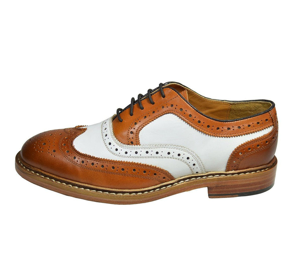 PETER Brown and White Leather Spectators by Paul Malone Paul Malone Shoes - Paul Malone.com