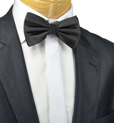 Solid Black Pre-Tied Bow Tie Paul Malone Bow Ties - Paul Malone.com