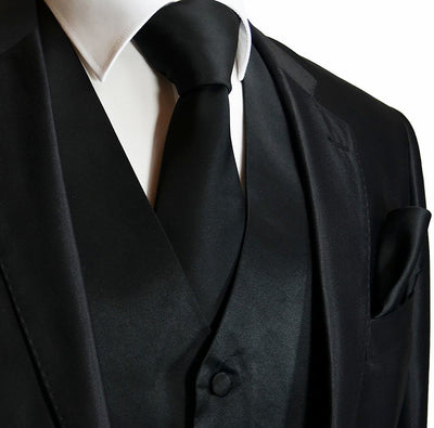 Solid Jet Set Black Tuxedo Vest Set Vest Set Vest - Paul Malone.com