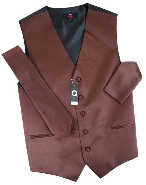 Solid Cocoa Brown Tuxedo Vest Set Vest Set Vest - Paul Malone.com