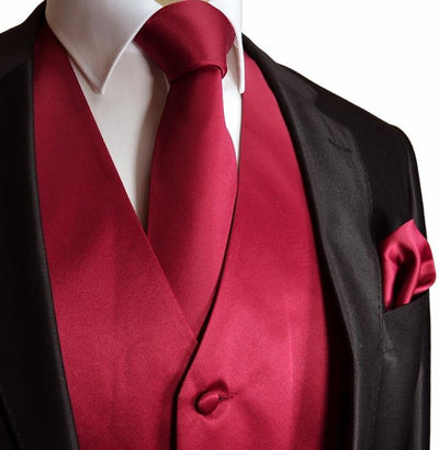 Solid Pompeian Red Tuxedo Vest Set Vest Set Vest - Paul Malone.com