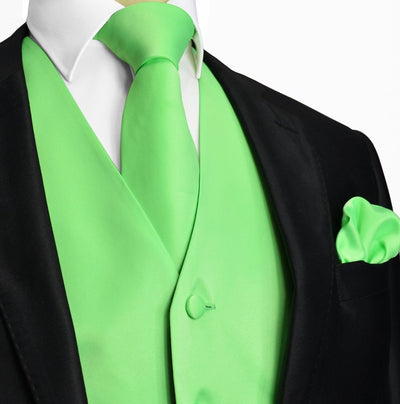 Solid Summer Green Tuxedo Vest Set Vest Set Vest - Paul Malone.com