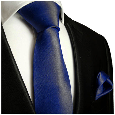 Solid Dark Navy Necktie and Pocket Square Paul Malone Ties - Paul Malone.com