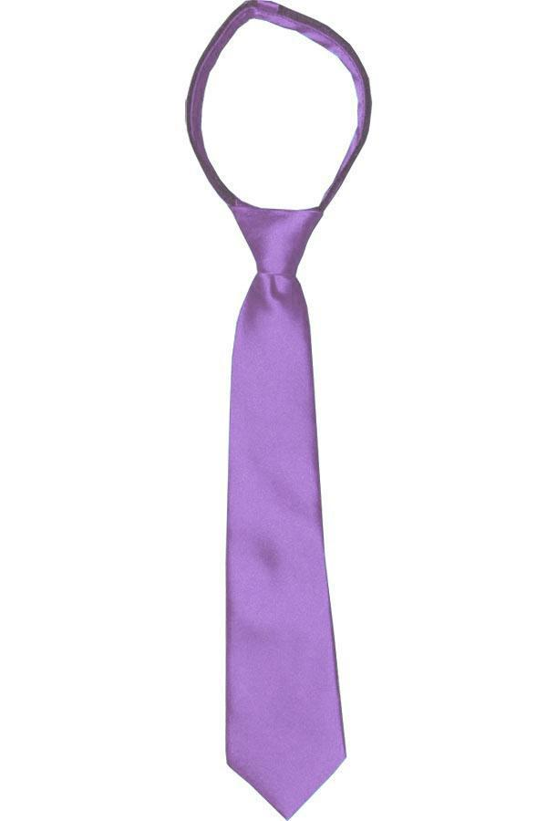 Solid Grape Jam Boys Zipper Tie Brand Q Ties - Paul Malone.com