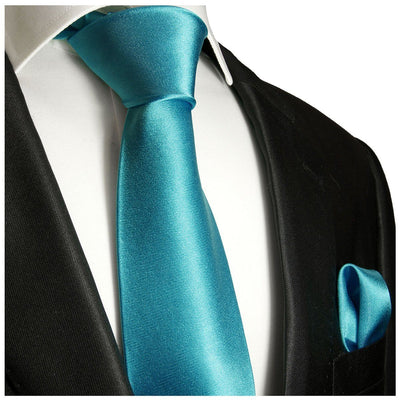 Solid Teal Necktie and Pocket Square Paul Malone Ties - Paul Malone.com