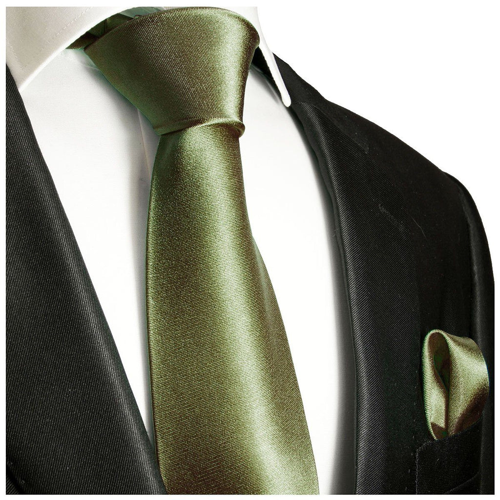 Solid Green Necktie and Pocket Square Paul Malone Ties - Paul Malone.com