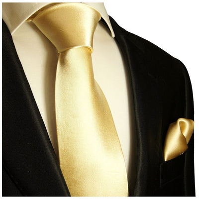 Solid Lite Yellow Necktie and Pocket Square Paul Malone Ties - Paul Malone.com
