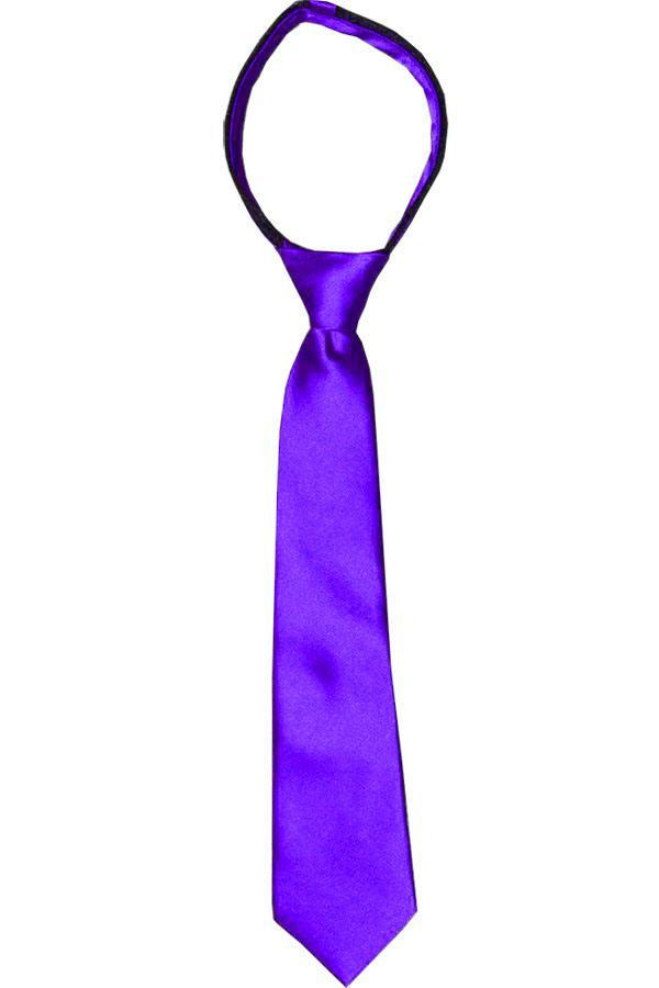Solid Amethyst Boys Zipper Tie Brand Q Ties - Paul Malone.com
