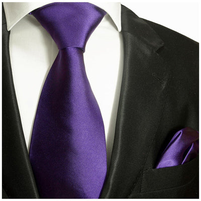 Solid Amethyst Violet Necktie and Pocket Square Paul Malone Ties - Paul Malone.com
