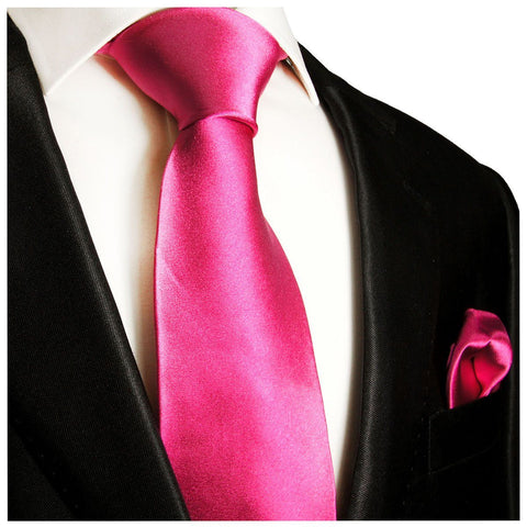 Hot Pink and Black Paisley Necktie and Pocket Square