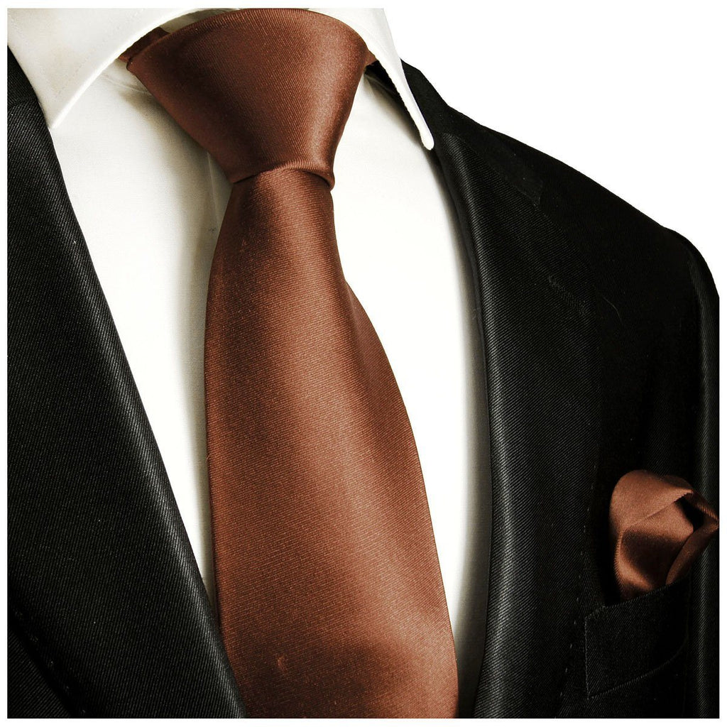 Solid Brown Necktie and Pocket Square Paul Malone Ties - Paul Malone.com