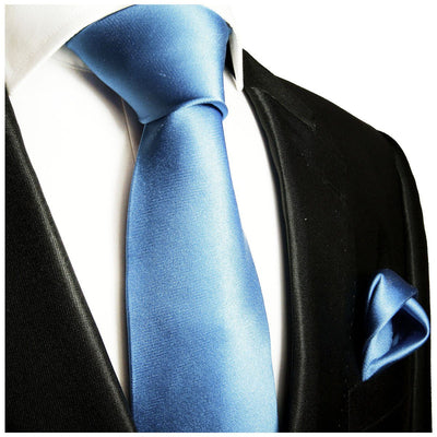 Solid Sky Blue Necktie and Pocket Square Paul Malone Ties - Paul Malone.com