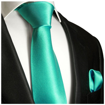 Marine Green Necktie and Pocket Square Paul Malone Ties - Paul Malone.com