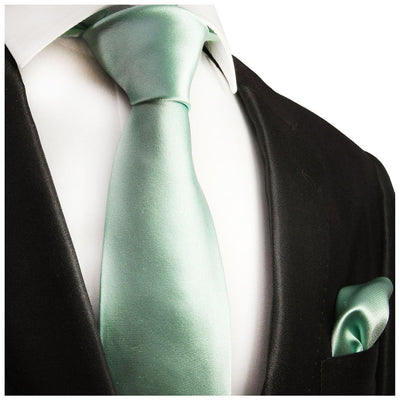 Solid Mint Necktie and Pocket Square Paul Malone Ties - Paul Malone.com