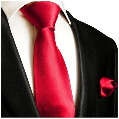Solid Ruby Red Necktie and Pocket Square Paul Malone Ties - Paul Malone.com