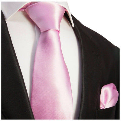 Solid Pink Necktie and Pocket Square Paul Malone Ties - Paul Malone.com