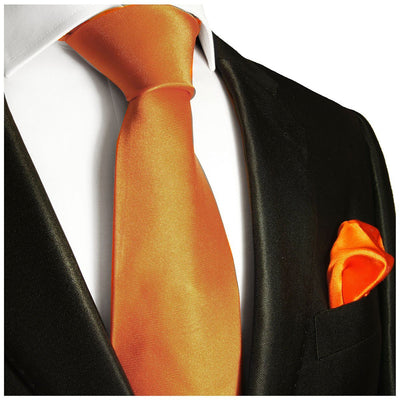 Solid Orange Necktie and Pocket Square Paul Malone Ties - Paul Malone.com
