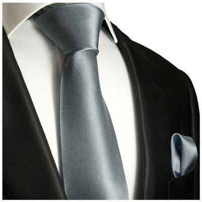 Solid Dark Silver Necktie and Pocket Square Paul Malone Ties - Paul Malone.com