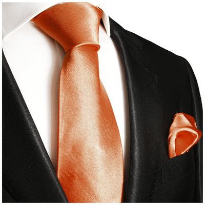 Solid Salmon Necktie and Pocket Square Paul Malone Ties - Paul Malone.com