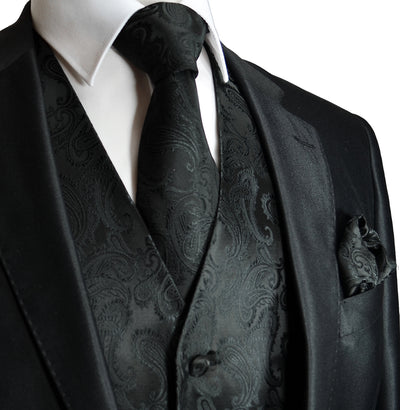 Black Paisley Men's Formal Suit Vest Set Vest Set Vest - Paul Malone.com