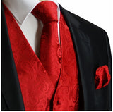 Red Paisley Tuxedo Vest Set Vest Set Vest - Paul Malone.com
