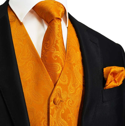 Sun Orange Paisley Tuxedo Vest Set Vest Set Vest - Paul Malone.com