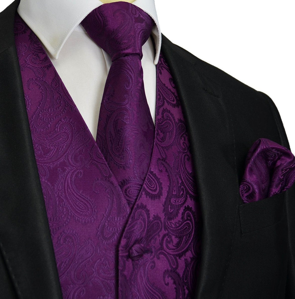 Crown Jewel Purple Paisley Tuxedo Vest Set Vest Set Vest - Paul Malone.com