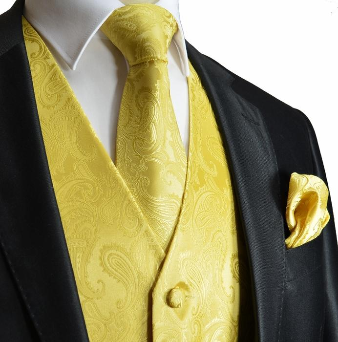 Yellow Paisley Tuxedo Vest Set Vest Set Vest - Paul Malone.com