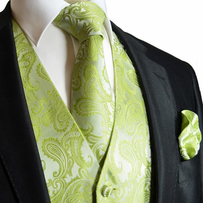 Lime Green Paisley Tuxedo Vest Set Vest Set Vest - Paul Malone.com