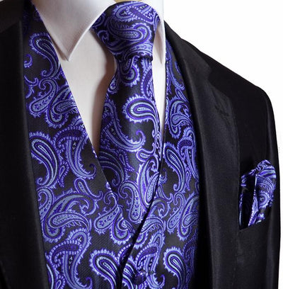 Purple and Black Paisley Tuxedo Vest Set Vest Set Vest - Paul Malone.com