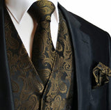 Brown and Black Paisley Tuxedo Vest Set Vest Set Vest - Paul Malone.com