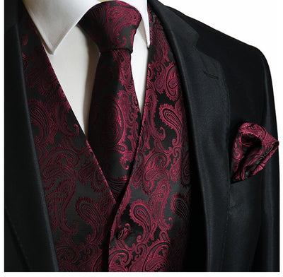 Black and Burgundy Paisley Tuxedo Vest Set Vest Set Vest - Paul Malone.com