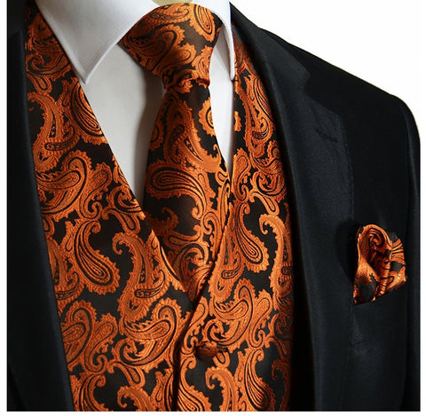 Royal Blue Paisley Tuxedo Vest Set by Paul Malone