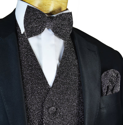 Glitter Tuxedo Vest and Bow Tie Set in Black Vest Set Vest - Paul Malone.com