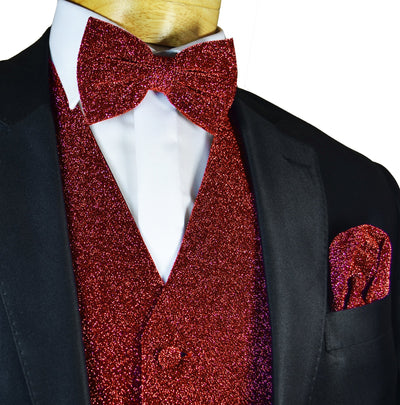 Glitter Tuxedo Vest and Bow Tie Set in Red Vest Set Vest - Paul Malone.com