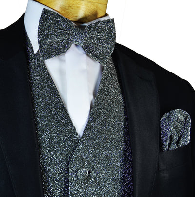 Glitter Tuxedo Vest and Bow Tie Set in Charcoal Grey Vest Set Vest - Paul Malone.com