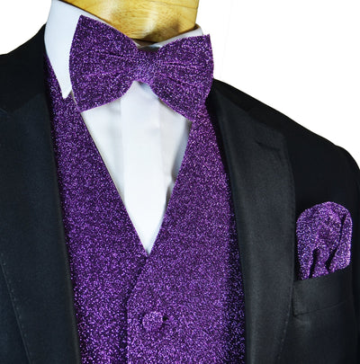 Glitter Tuxedo Vest and Bow Tie Set in Purple Vest Set Vest - Paul Malone.com