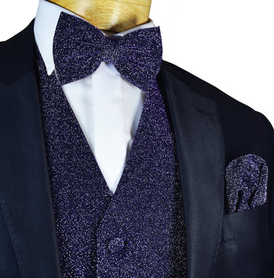 Glitter Tuxedo Vest and Bow Tie Set in Navy Vest Set Vest - Paul Malone.com