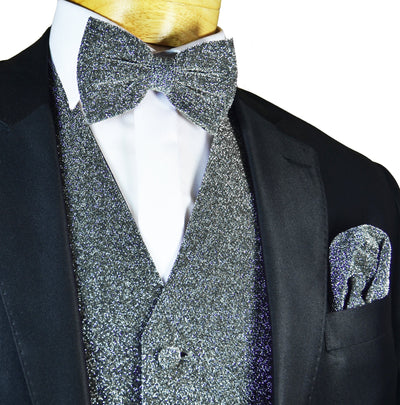 Glitter Tuxedo Vest and Bow Tie Set in Silver Vest Set Vest - Paul Malone.com