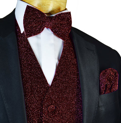 Glitter Tuxedo Vest and Bow Tie Set in Burgundy Vest Set Vest - Paul Malone.com