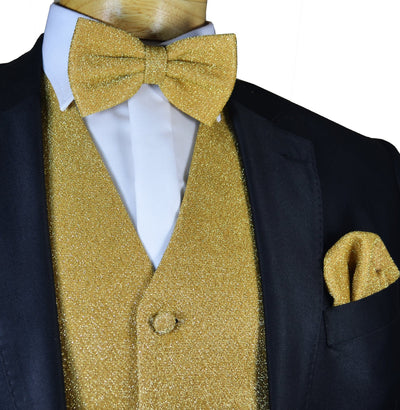 Glitter Tuxedo Vest and Bow Tie Set in Gold Vest Set Vest - Paul Malone.com