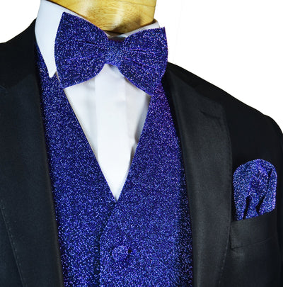 Glitter Tuxedo Vest and Bow Tie Set in Blue Vest Set Vest - Paul Malone.com