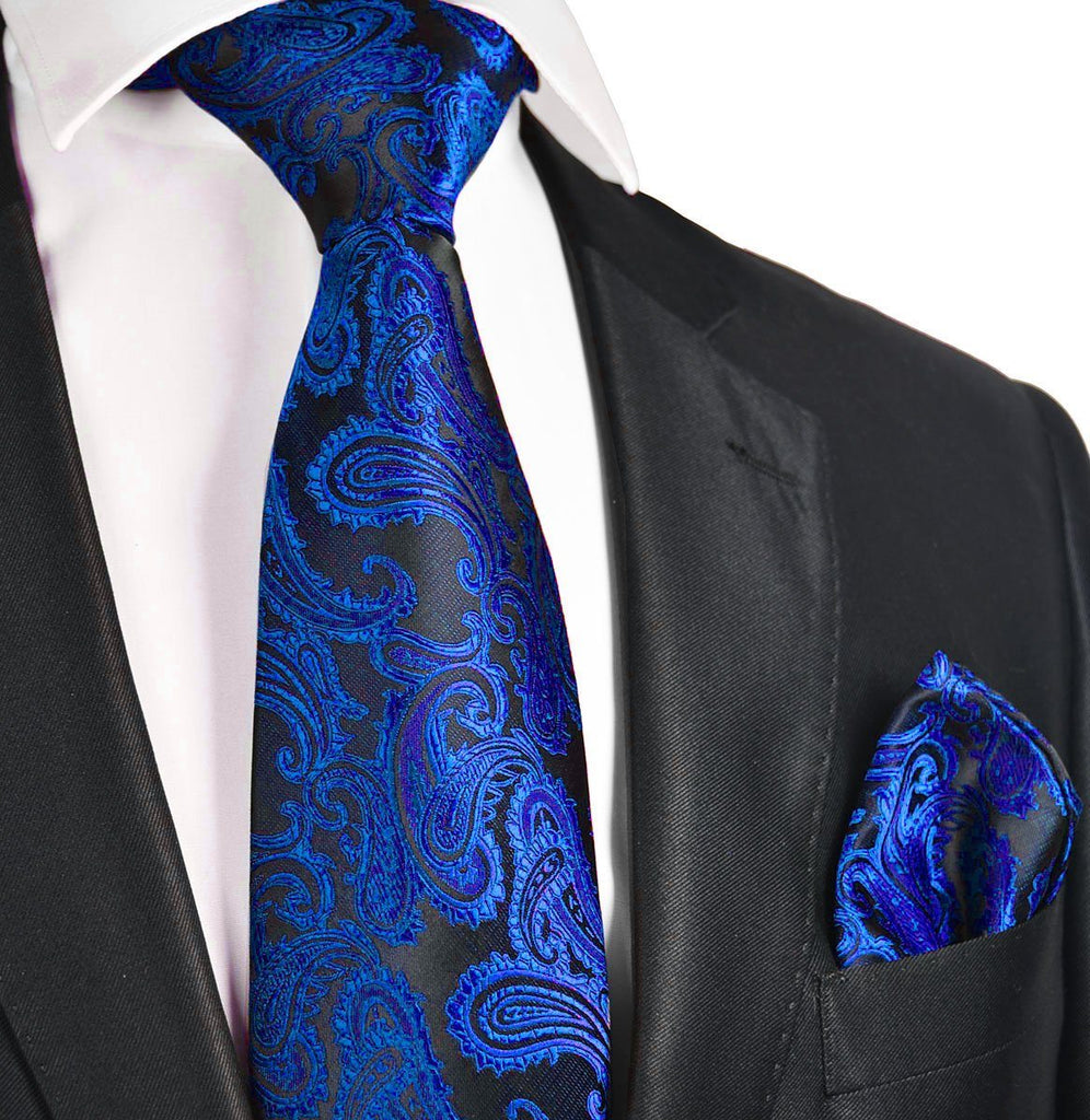 Blue and Black Paisley Necktie and Pocket Square