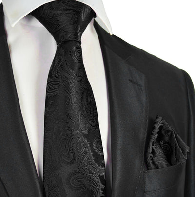 Black Paisley Necktie and Pocket Square Paul Malone Ties - Paul Malone.com