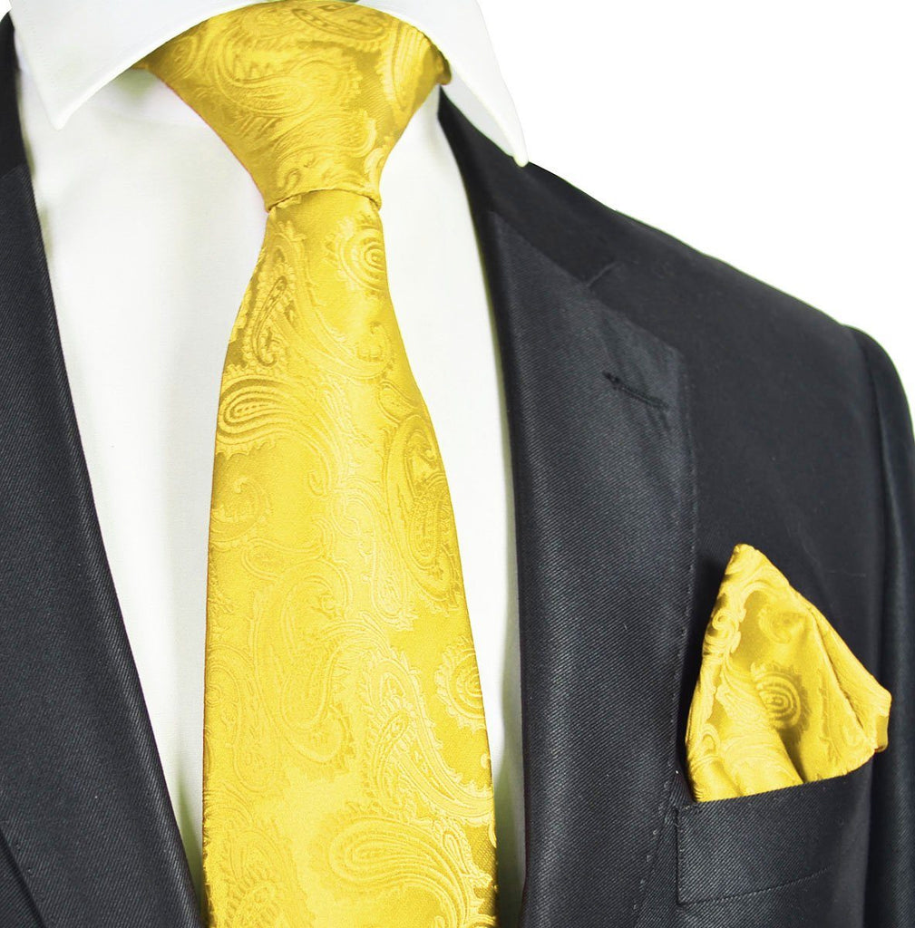 Vibrant Yellow Paisley Formal Tie and Pocket Square Paul Malone Ties - Paul Malone.com
